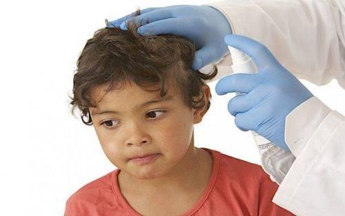 врач обрабатывает голову ребенка